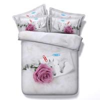 ingrosso copripiumino a cavallo di dimensioni reali-3d fiore rosa rossa Copripiumini cavallo bianco copripiumini full / queen / king / super king size set di biancheria da letto floreale coppie set di cuscini
