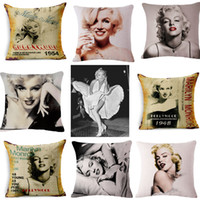 Wholesale monroe sofa pillow for sale - Group buy Marilyn Monroe Flax Pillow Covers Square Sexy Colourful Soft Decorative Pillow Case Home Car Sofa Hotel Cushion Cover bhD1