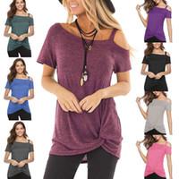unregelmäßiges fronthemd großhandel-Solide Damen Kalt Schulter T-Shirt Unregelmäßig Schulterfrei Kurzarm Blusen Knot Twist Front Tunika Tops
