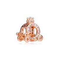 encantos de coroa de prata esterlina 925 venda por atacado-Novo 925 Sterling Silver Bead Charme Rose Gold Abóbora Coroa Transporte Com Contas De Cristal Fit Pandora Pulseira Diy Jóias