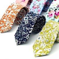 impressão de paisley tie venda por atacado-Gravatas florais de Algodão Gravata Floral Gravatas Para Homens de Algodão Gravata Fina Festa de Casamento Gravata Flor Paisley Skinny Laços GGA1651