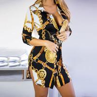 schnürt gürtel großhandel-Neue Druck-Damen kleiden reizvolle Nachtklub-Spitze-Kurzschluss-Kleid-Biegungs-Rand-Ketten-Druck-Gurt-beiläufiges Hemd-Kleid-Vielzahl wahlweise freigestellt