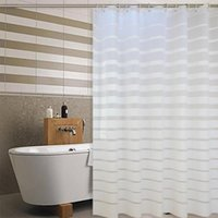 Wholesale modern white shower curtain resale online - Plastic Shower Curtains PEVA White Striped Bath Screen for Home Hotel Bathroom Waterproof Mold Proof Curtain with Hooks
