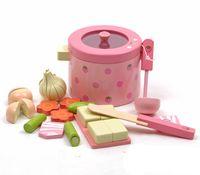 sebze kapları toptan satış-[ÜST] Oyun evi oyuncak Simülasyon Sebze Sıcak Pot Ahşap Oyuncaklar mutfak aşçı Prentend Gıda Tofu Bıçak Tava Set Doğum Günü Hediye Oyna