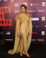 châle africain achat en gros de-Sexy Robe De Soirée Sexy Étincelante Or Avec Des Châles Combinaisons Manches Longues Plus La Taille Robe De Soirée Africaine