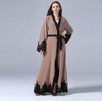 vestido abaya kaftan branco novo venda por atacado-New Floral Abaya Para As Mulheres Islâmico Muçulmano Vestido Aberto Robe Dubai Caftan Preto Branco Kaftan Marroquino Oração Ramadan Roupas FQ107