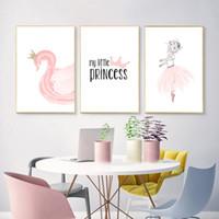 weibliche figur ölgemälde großhandel-Poster Nodic Pink Swan Kids Poster Mädchen Baby Girl Room Decor Poster Und Drucke Skandinavisches Poster Wandkunst Leinwand Malerei