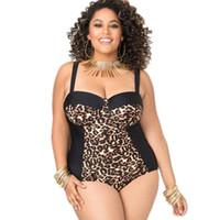 купальник леопарда плюс размер оптовых-XL-3XL Leopard Wild Плюс Размер печати Цветочные One Piece Купальники женский костюм Монокини Бразильский купальник с высокой талией