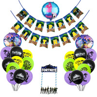 jogos de balões venda por atacado-Quinzena Jogo Fortress Noite Bandeira Do Aniversário Bandeira Balão Aniversário Bolo Inserido Rodada De Alumínio Balões De Filme Partido Decor Suprimentos