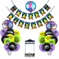 spiele dekor großhandel-Vierzehntes spiel festung nacht geburtstag flagge banner ballon geburtstagstorte eingefügt karte runde aluminiumfolie ballons party decor liefert