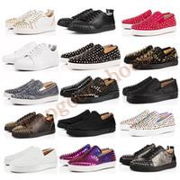 yeni sivri uçlar toptan satış-Yeni Tasarımcı Ayakkabı Çivili Dikenler Flats Ayakkabı Kırmızı Bottoms Womens Parti Aşıklar Gerçek Deri Sneakers Boyutu 35-47 Ayakkabılar