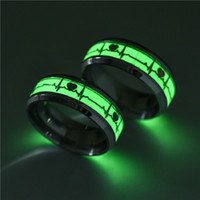 Wholesale glowing jewelry resale online - Mens Ring Luminous Heartbeat Couple Rings for Men Women mm Stainless Steel Finger Rings Glow In The Dark Male Jewelry Valentine s Day Gift