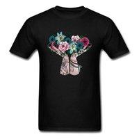 camisas boêmios homens venda por atacado-Homens de desconto T-shirt Bohemian Bouquet T Shirts Imprimir Tops Camisa de Algodão Flor Imprimir Roupas Mulher Gota Preta grátis