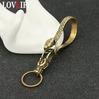 Wholesale snake body chain for sale - Group buy Retro Brass Horse Head Snake Body Key Chains Trinkets Creative Handmade Accessories Copper Keychains Men Car Keyrings