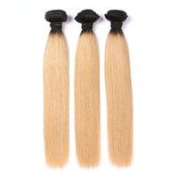 12 inç ombre saç uzantıları toptan satış-T1B / 27 Ombre Perulu Saç Atkı 3 ADET Düz İnsan Saç Paketler Remy İnsan Saç Uzantıları Ücretsiz nakliye