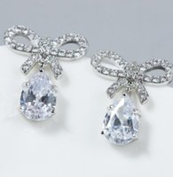 Wholesale knot earings resale online - high quality fashion diamond crystal silver women s earings tyt