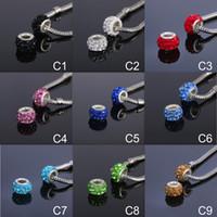 armbänder große bälle groihandel-9 farben große löcher perlen mit 3 reihe strass lose perlen eingelegte runde strass ball diy shambala perlenarmband halskette zubehör
