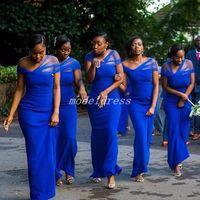 blaues umwandelbares kleid großhandel-Convertible Royal Blue Mermaid Brautjungfernkleider bodenlangen Garten Strand Land afrikanischen Hochzeitsgast Kleider Trauzeugin Kleid 2019