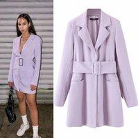 trajes de vestido de mulher e roxo venda por atacado-Luxo Outono Inverno Mais novos longas ternos vestidos para Purple Fashion Women Vintage elegante Blazer V-Neck 3 Tamanho