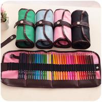 renkli kalem 36 toptan satış-36 Adetpaket Renkli Kalem Çantası Tuval Kalem Tutucu Durumda Kroki Kalemler Perde Popüler Tasarım Çok Renkli 6 5jjH1