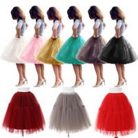 vestidos de novia enaguas al por mayor-2019 vestido de bola de la boda mullido completo en capas falda tutú mujeres adultos falda de la enagua de tul de novia