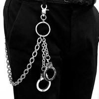 keychain das calças de brim venda por atacado-New Vintage Hot Anel Cadeia Rock Punk Calças Hipster Calça Jeans de Prata Chaveiro Anel Clipe Chaveiro HipHop Cinto Acessórios Cadeia
