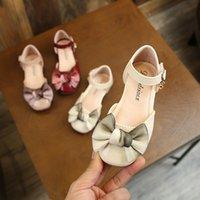 säugling rote sandalen großhandel-Kinder mädchen sandalen prinzessin schuhe mit bogen kleinkind chaussures gießen enfants weich baby infant mädchen rosa rot beige sandalen schuhe