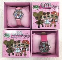 relógio de pulso criança venda por atacado-Lote por atacado LOL Surpresa Crianças Relógio De Pulso Dos Miúdos Dos Desenhos Animados Relógios Com Caixas Presentes W0012