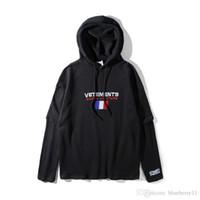 schwarzes flaggen-sweatshirt großhandel-Winter Vetements Männer Hoodies Hip Hop Frankreich Flagge Vetements Sticken Hoodies Pullover Schwarz Designer Sweatshirts S-XL
