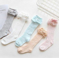 Wholesale white knee high stockings girl for sale - Group buy baby infant toddle knee high socks bow butterly ruffled mesh cotton socks colors cotton soft comfortable stocking w1722