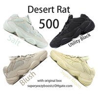 Wholesale blacked out boots resale online - New Salt Running Shoes Mens Womens Desert Rat Utility Black Blush F36640 DB2908 EE7287 Kanye West Designer Boots with original box