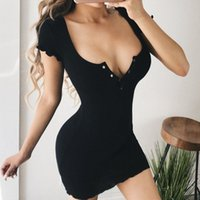 Wholesale fashion dresses for sale - Group buy Fashion Ribbed Yellow Dress Bodycon Slim Short Sleeve Summer Dresses Sexy Sundress Casual Dress Women