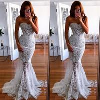 off beyaz dantel nedime elbiseleri toptan satış-2019 Yeni Beyaz Kapalı Omuz Gelinlik Uzun Dantel Mermaid Fishtail Nedime Elbisesi Uzun Gelinlik Modelleri
