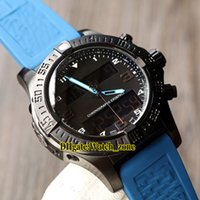 Wholesale mens digital lcd watches for sale - Group buy New Aerospace Evo mm VB5510H2 BE45 Chronometer Quartz Mens Watch PVD Black Steel Case LCD Digital Display Blue Rubber Strap Gents Watches