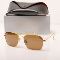 Wholesale top sight for sale - Group buy fashion Brand Designer sun glasses retro vintage mens brand designer shiny gold frame laser logo top quality womens glasses with boxs