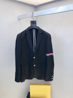 ingrosso vestito nero dalla giacca bianca-2019new di modo del nero smoking dello sposo Rosso, bianco e strisce blu risvolto abito da sposa di business eccellente Giacca uomo Blazer Suit