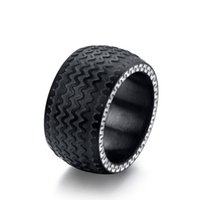 Wholesale cool ring designs for men resale online - Cool Men Rings With Black Tire Designs Ring Stainless Steel Black Plated High Quality Ring Jewelry For Men
