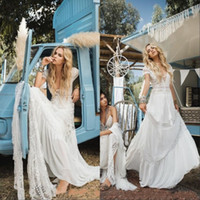 Wholesale chiffon short ivory wedding dress resale online - Vintage Bohemian Beach Wedding Dresses Deep V Neck Lace Appliqued Short Sleeves Bridal Gowns Sweep Train Boho Wedding Gown