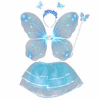 волшебные палочки оптовых-4Pcs Fairy Princess Kids Costume Sets Butterfly Wings Wand Headband Tutu Skirt