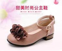 nova moda coreano saltos venda por atacado-2019 NOVOS Sapatos De Casamento Dos Miúdos Da Menina Da Princesa Menina Sapatos Do Partido 2018 Coreano PU Moda Sapatos de Couro de Salto Meninas Flores sapatos