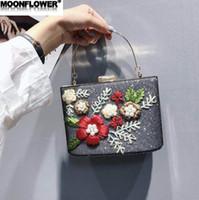 harte süße blume großhandel-Verkäufe Markenfrauenhandtasche süße Stickerei, die Abendessenbeutel 3D-Blumen hält Perle harte Kastenkettenbeutel glänzende gestickte Diamanthandtasche