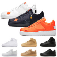 the latest b7e5a e87ce Nike air force 1 AF1 Just Do it Chaussures de course à pied pour hommes,  femmes baskets 1 Low High White Orange Flax mens chaussures de sport de  formateurs