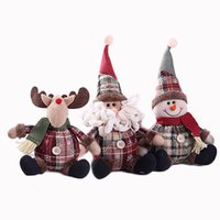 Wholesale santa claus plush doll resale online - 1pcs Snowman Reindeer Plush Doll Ornaments Holiday Xmas New Year Toys Santa Claus Gift under the Christmas Tree BW006