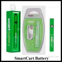 ingrosso vagliare la penna passthrough-Batteria SmartCart popolare 380mAh Preriscaldare la batteria a penna Vape a tensione variabile per carrelli astuti Passante USB inferiore per cartuccia olio spessa