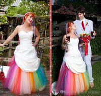 modestos vestidos de novia de colores al por mayor-Colorido vestido de novia de novia de tafetán modesto una línea de vestidos de novia por encargo 2019 vestido de novia