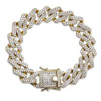 party nägel großhandel-Hochwertige Hip Hop Armband voller Diamanten Nagel Anhänger Armband Micro Zirkonia Kupfer Anhänger Set Diamond Miami Cuban