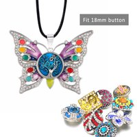 zencefil mücevher satışı kapar toptan satış-Kadınlar Hediye için Moda Sıcak Satış Değiştirilebilir Kelebek Kristal Zencefil Kolye 120 Fit 18mm Snap Düğme kolye Charm Takı