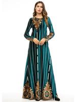 maxi vestidos islamicos al por mayor-Las mujeres musulmanas mangas largas bata con estampado de terciopelo vestido de vestido de Dubai Maxi Abaya Ropa de mujer islámica Robe Kaftan marroquí