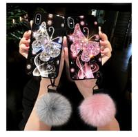 Wholesale beautiful diamond pendants resale online - Luxury Fashion Beautiful Bling Rhinestone Diamond Butterfly Fur Ball Pendant Hand Chain Case Cover For Iphone Pro XS Max XR X S Plus