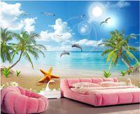 decoração da árvore de amor venda por atacado-3d papel de parede personalizado foto mural bonito amor golfinho coqueiro praia fundo parede home decor sala papel de parede para paredes 3 d